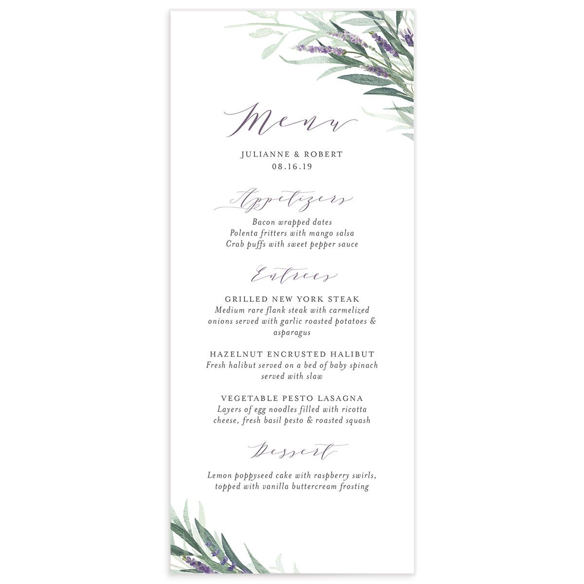 lavender sage wedding menus
