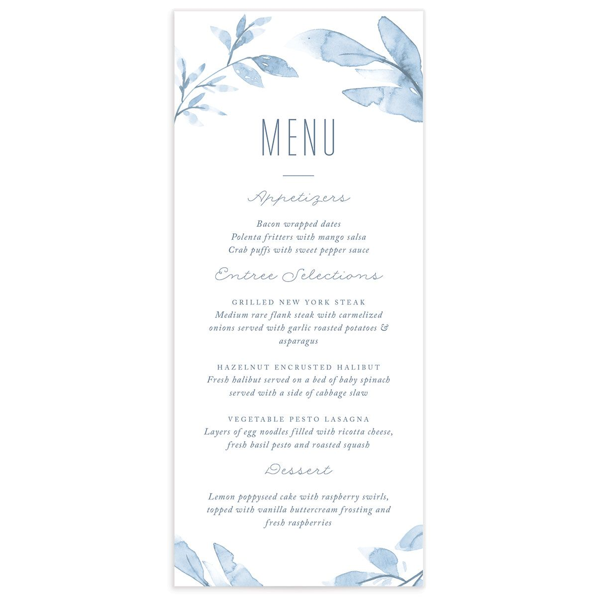 painted leaves wedding menus