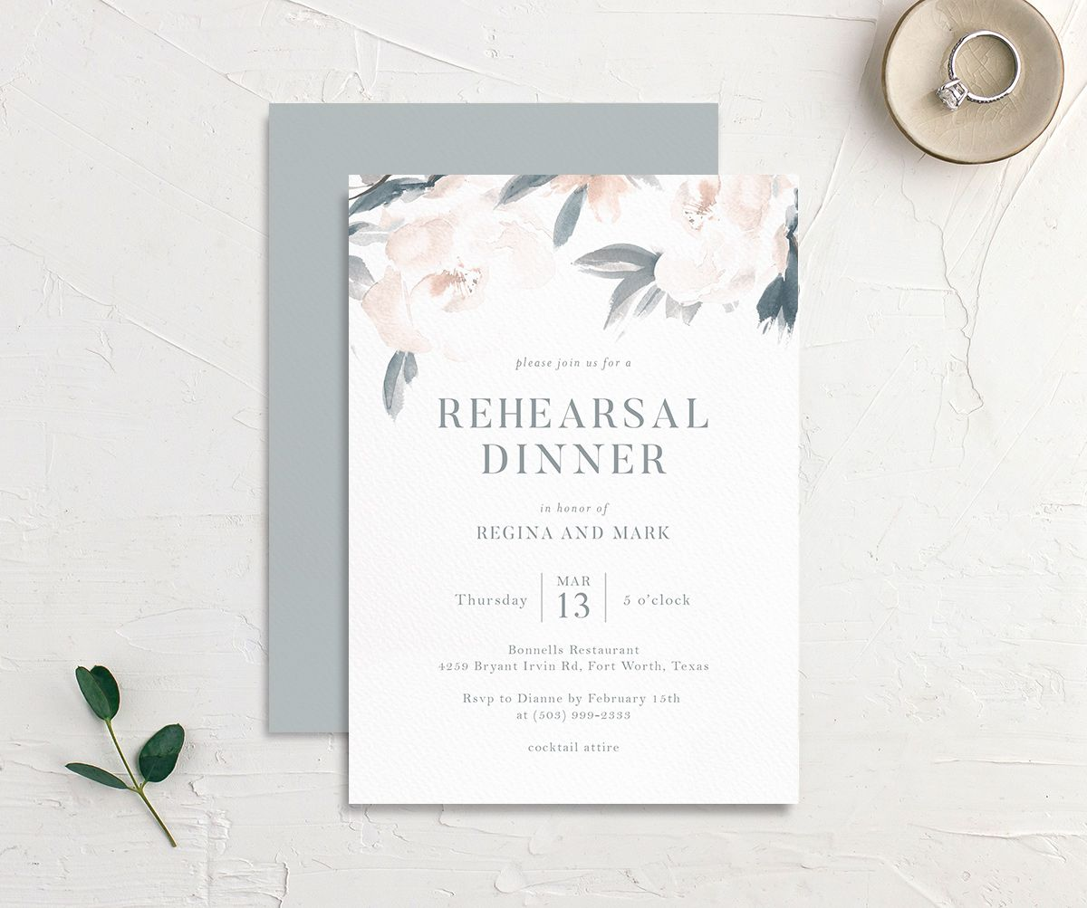 Elegant Garden rehearsal dinner invitation in blue