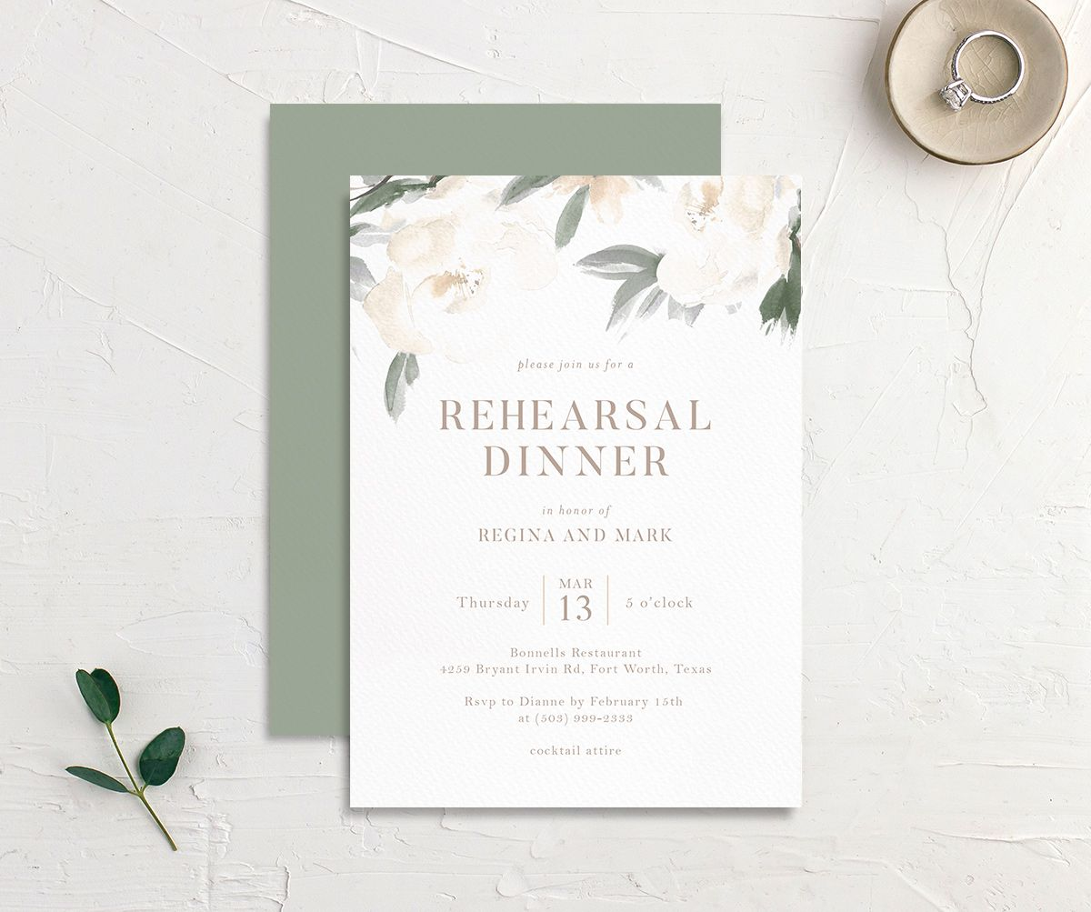 Elegant Garden rehearsal dinner invitation in green