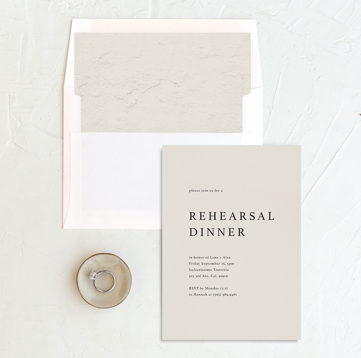 Natural Palette rehearsal dinner invitation with liner in blue