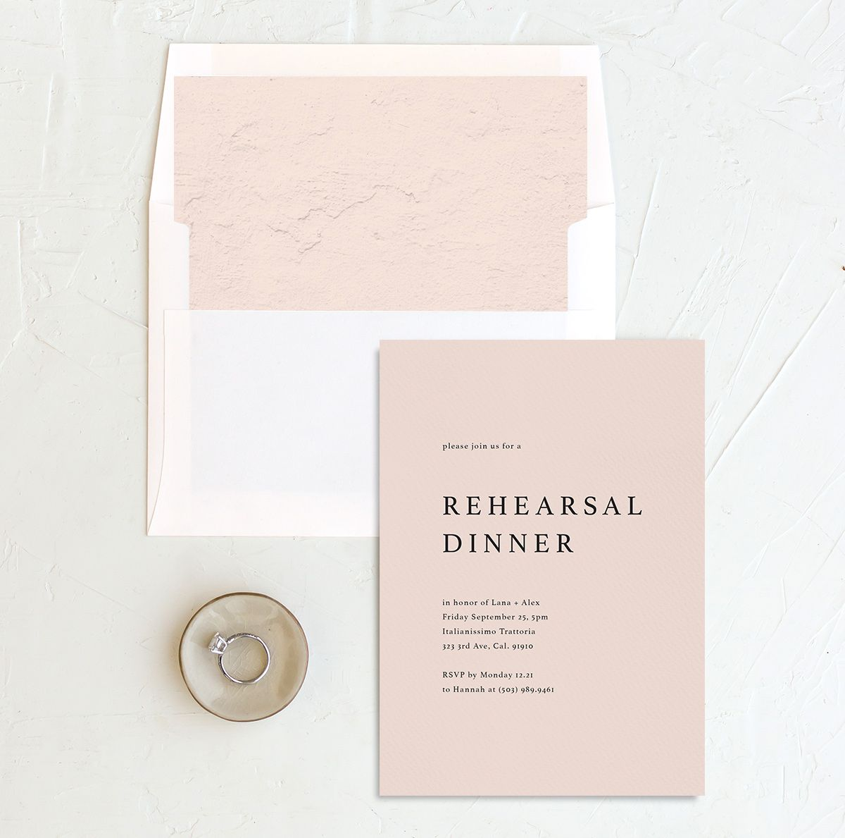 Natural Palette rehearsal dinner invitation with liner in pink