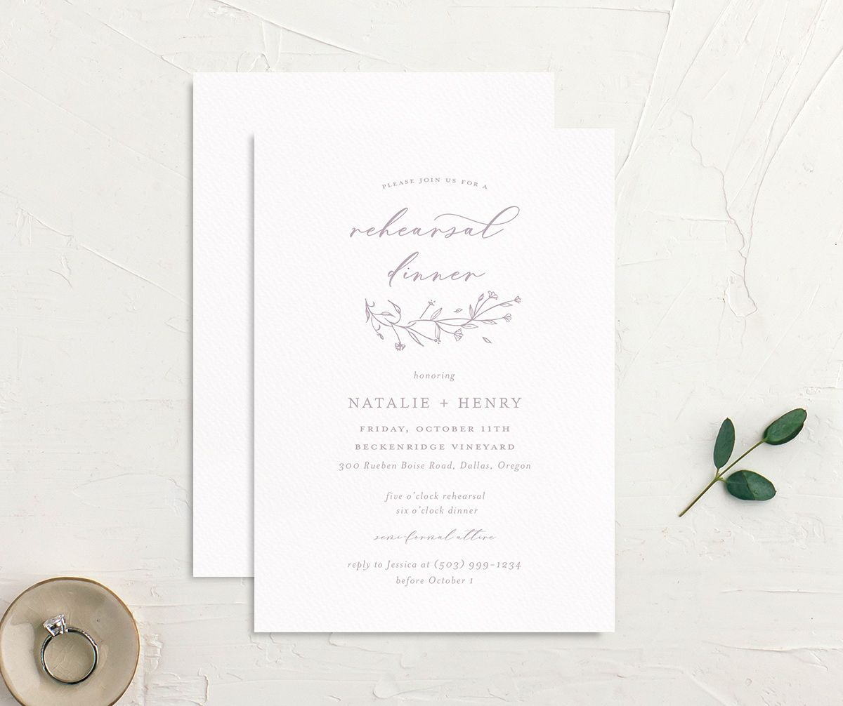 Natural Monogram rehearsal dinner invite with liner in purple