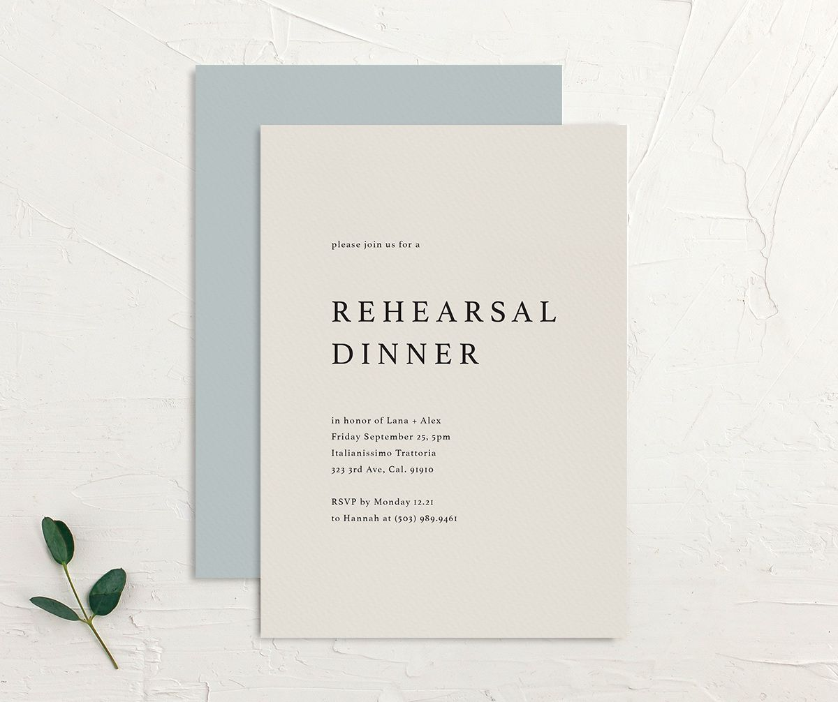 Natural Palette rehearsal invites in blue front & back