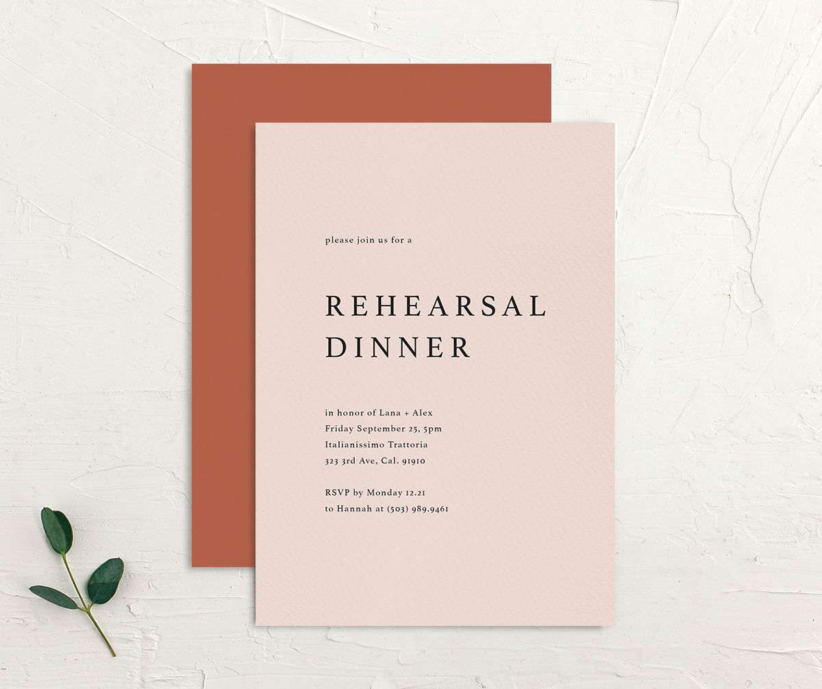 Natural Palette rehearsal invites in pink front & back