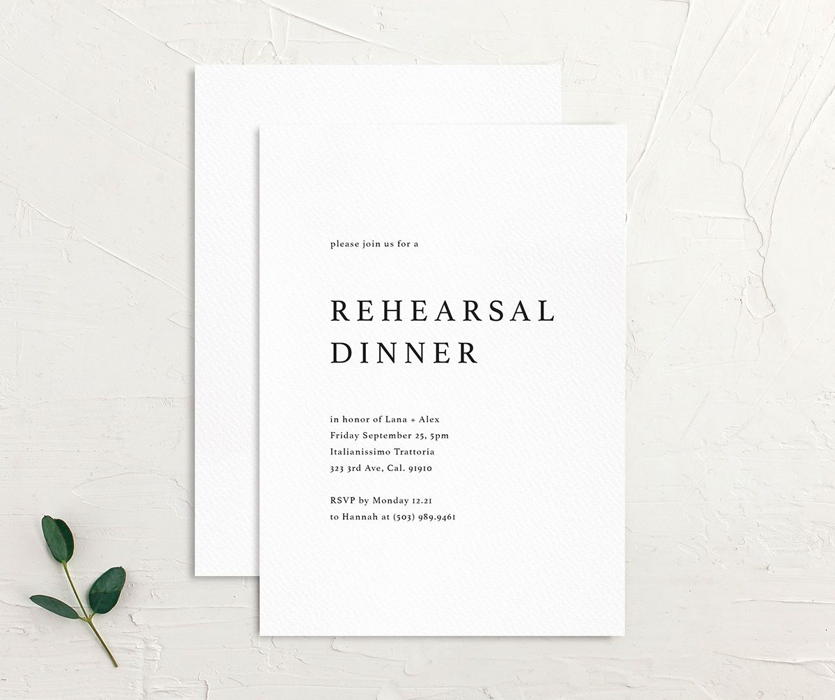 Natural Palette rehearsal invites in white front & back