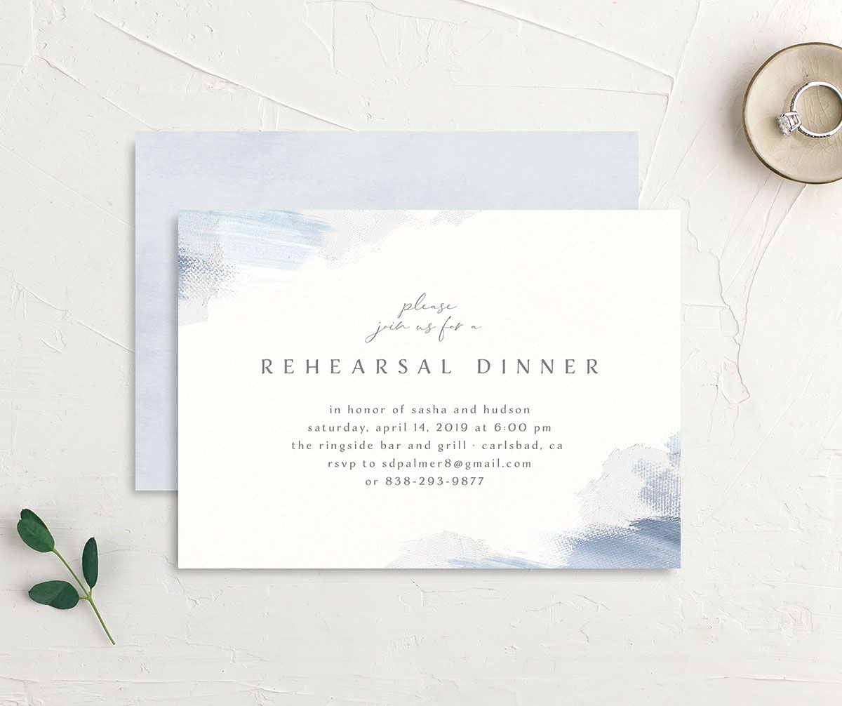 Minimal Brush rehearsal dinner invitation blue