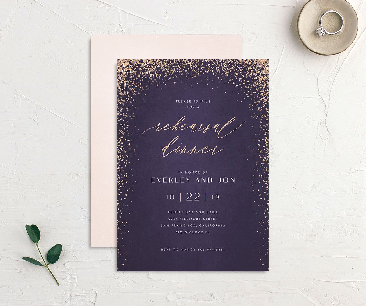 Sparkling Romance rehearsal dinner invitation purple