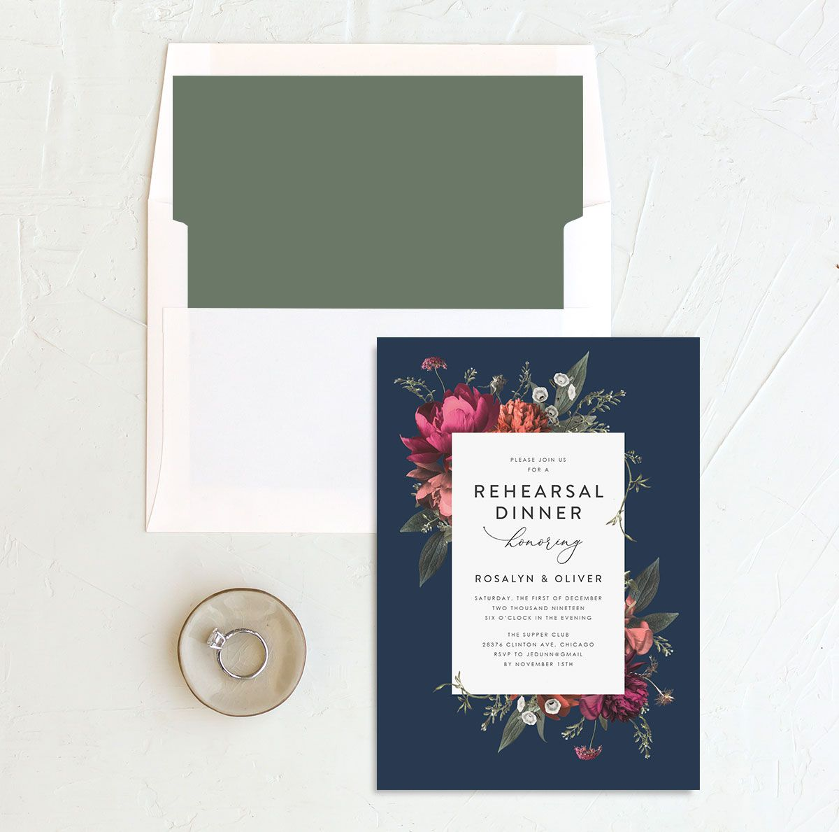 Blooming Botanical rehearsal dinner invitation