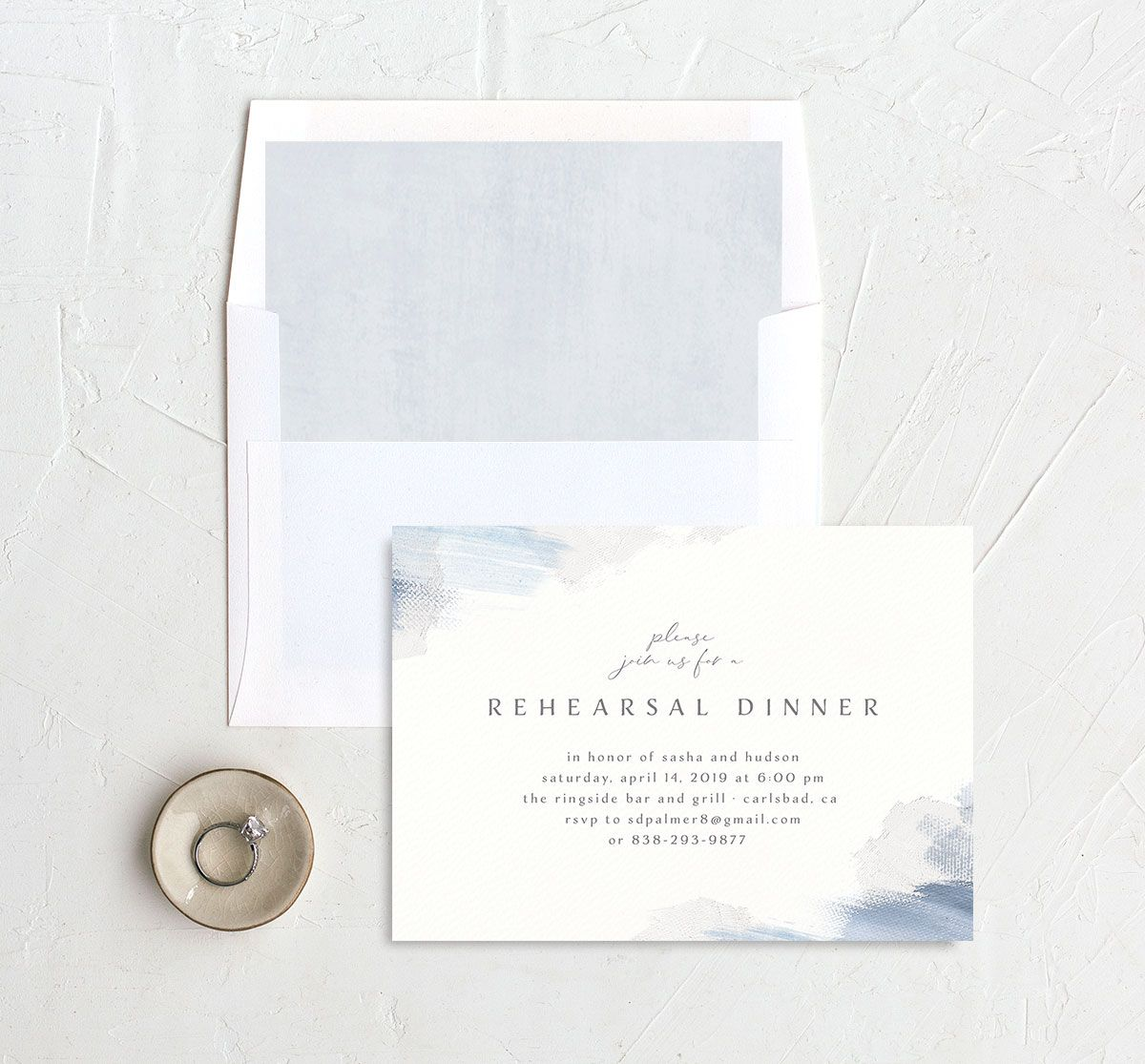 Minimal Brush rehearsal dinner invitation blue with liner