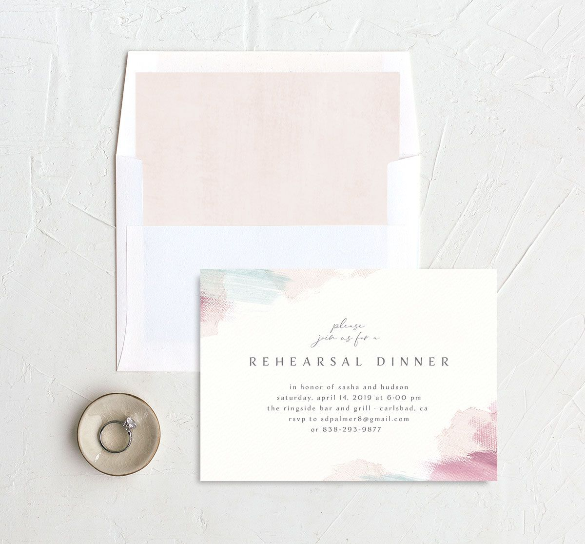 Minimal Brush rehearsal dinner invitation pink with liner