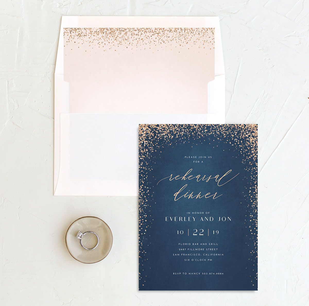 Sparkling Romance rehearsal dinner invitation blue with liner