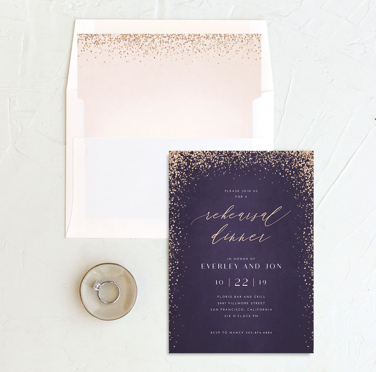 Sparkling Romance rehearsal dinner invitation purple with liner