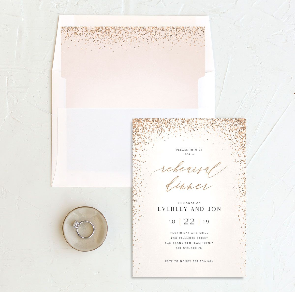 Sparkling Romance rehearsal dinner invitation cream with liner