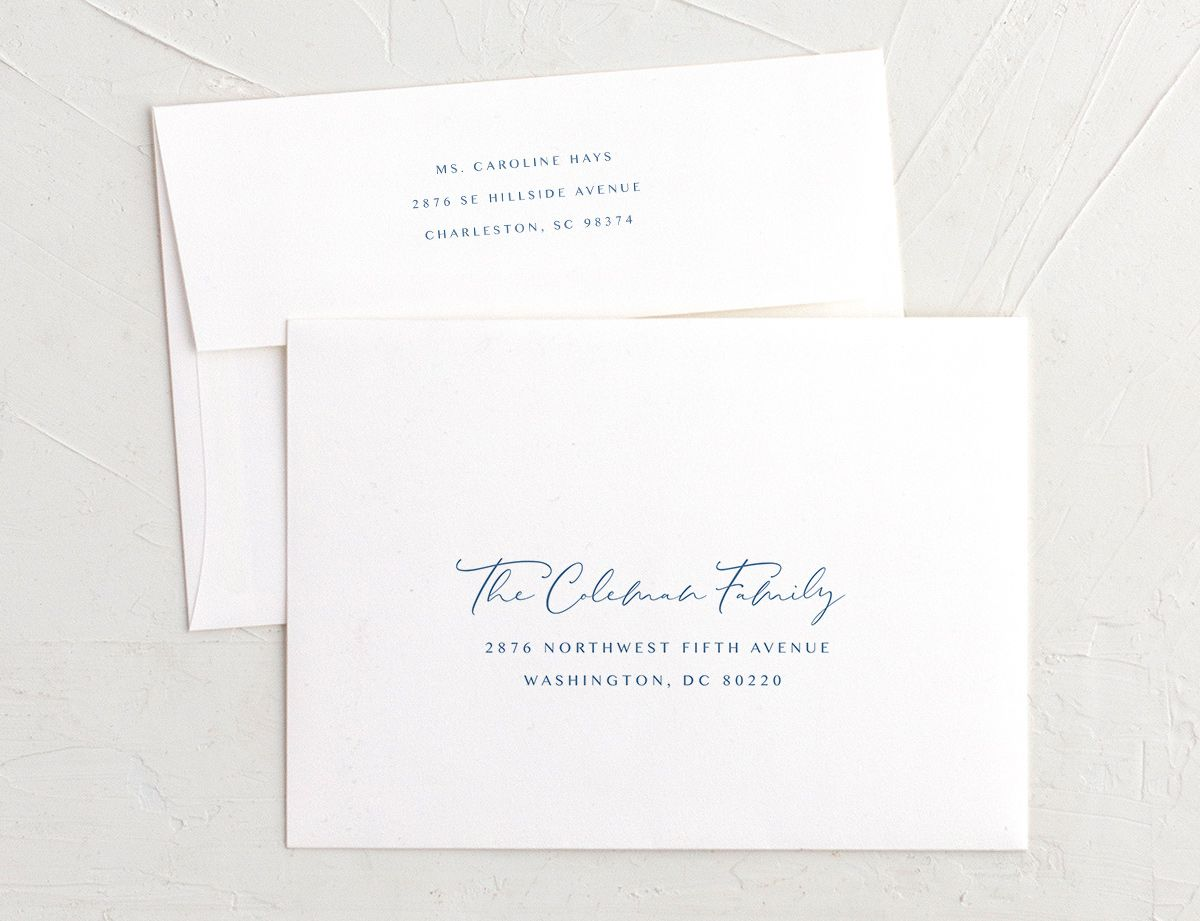 Coastal Love recipient address printing in blue