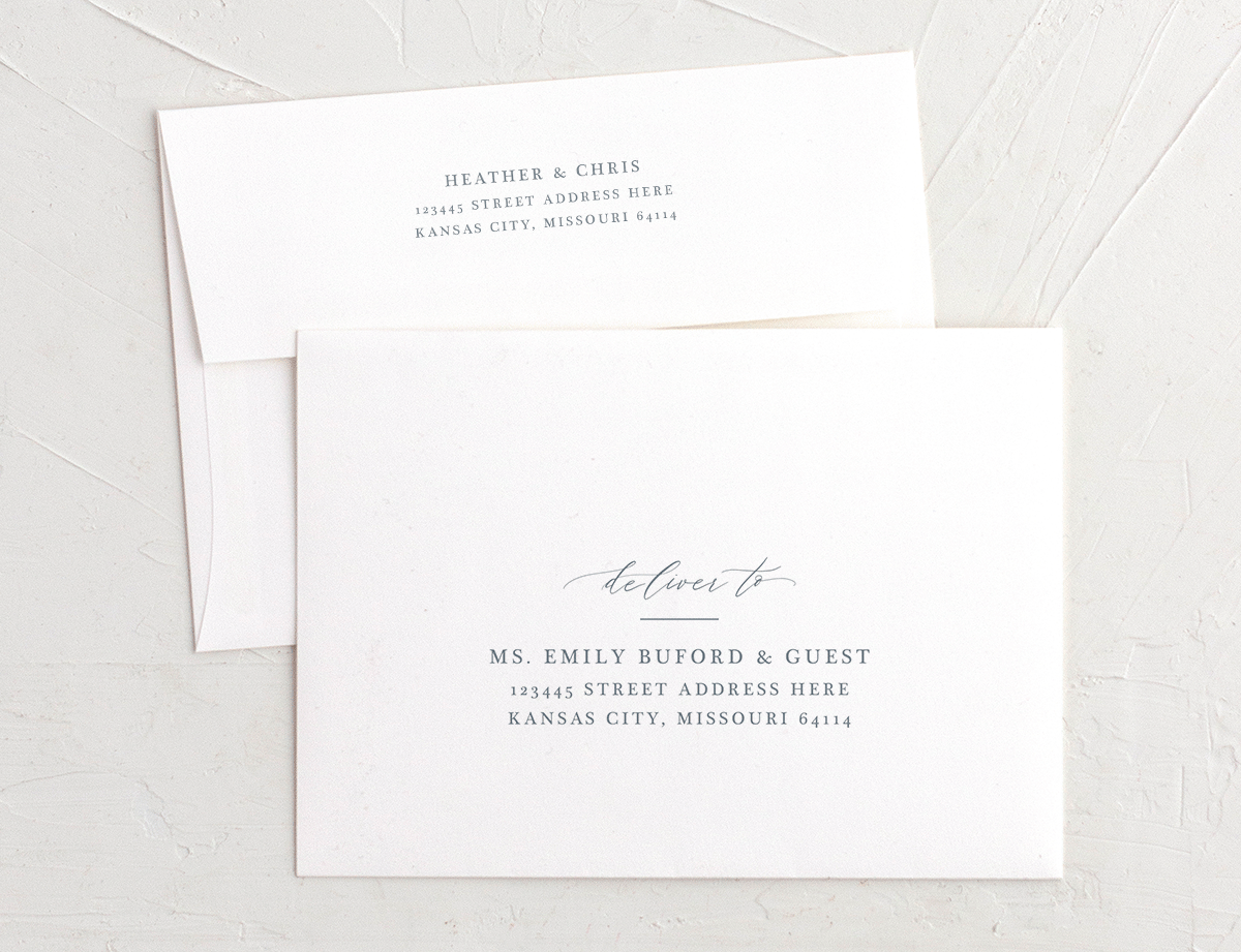 Dusted Calligraphy recipient address printing matching blue