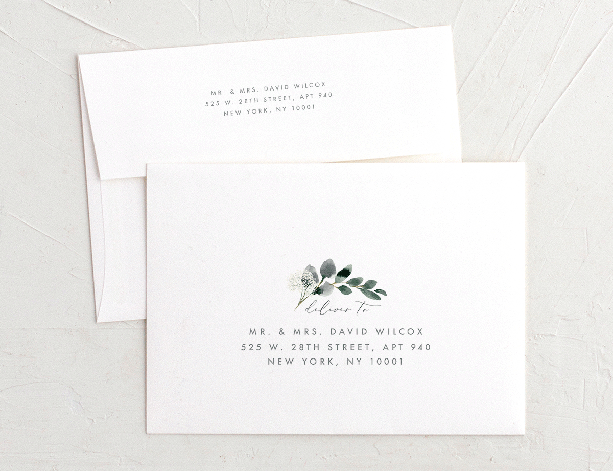 Elegant Greenery recipient address printing merch