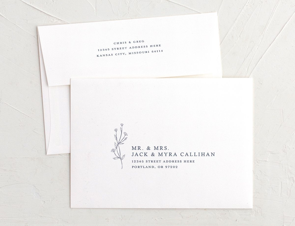 Natural Monogram recipient address printing in blue