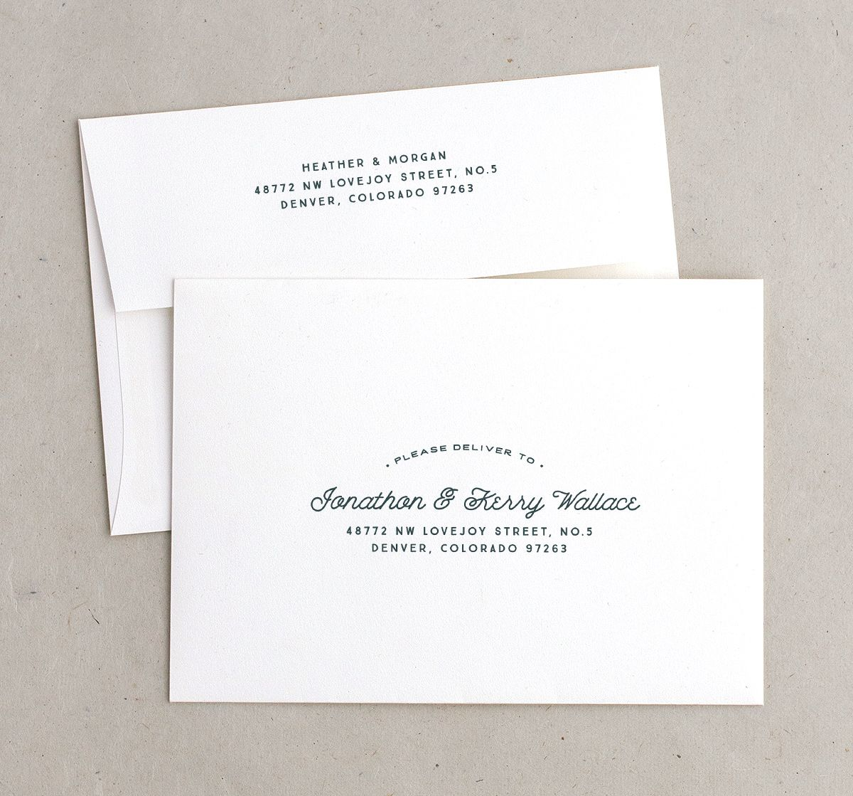 Vintage Mountain recipient address & return address printing