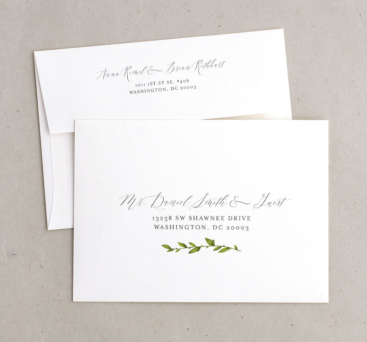Watercolor Greenery recipient & return address printing