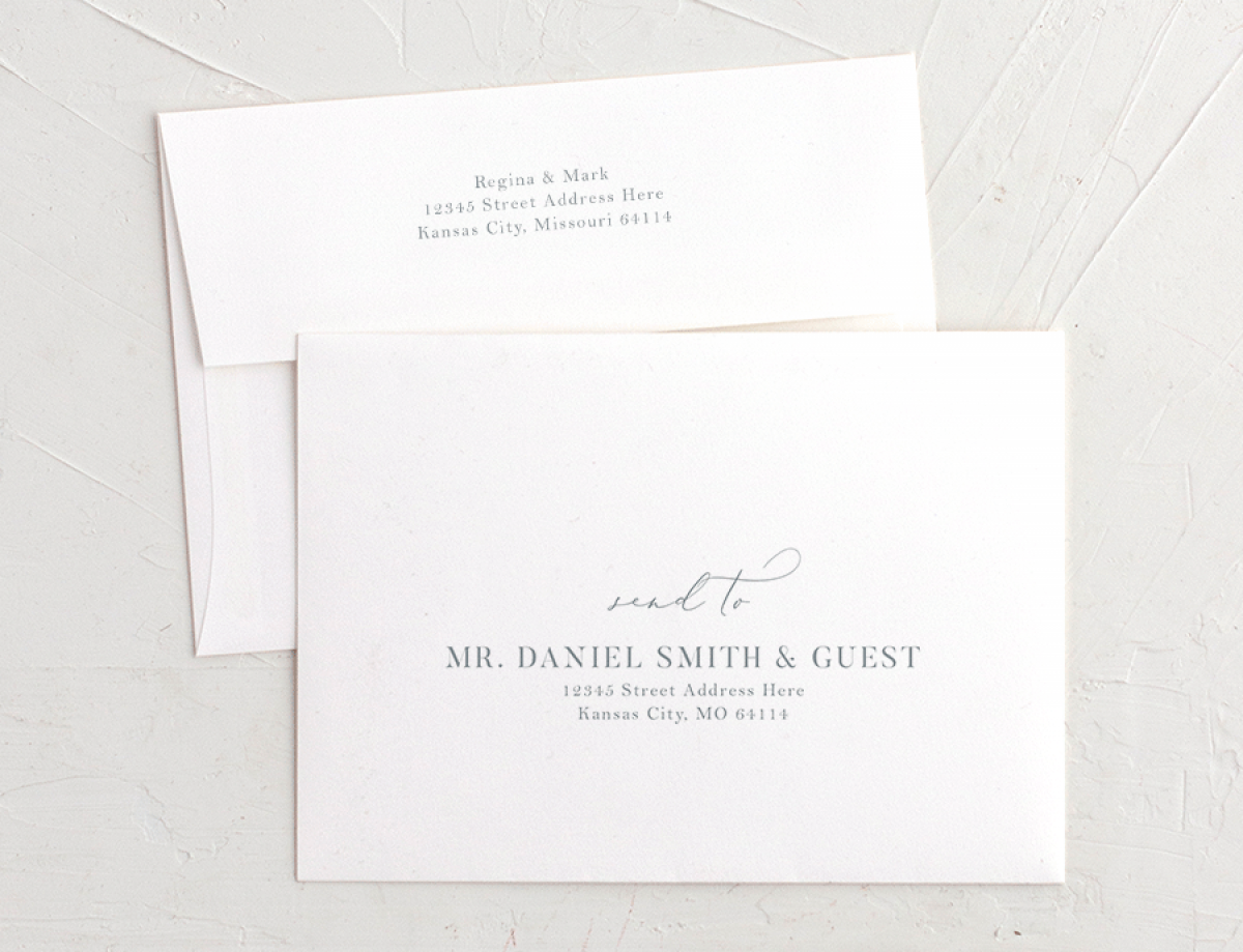 Elegant Garden recipient address printing in blue