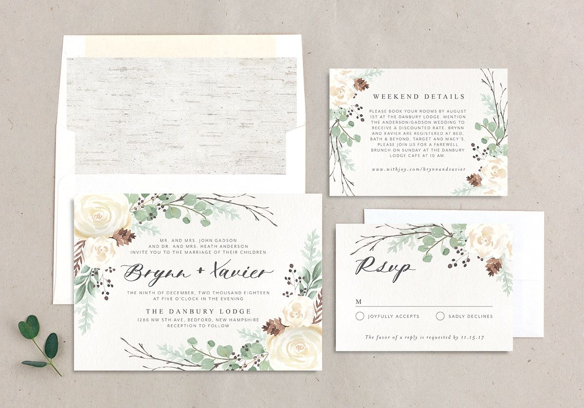 Rustic Botanical Wedding Invitation Suite
