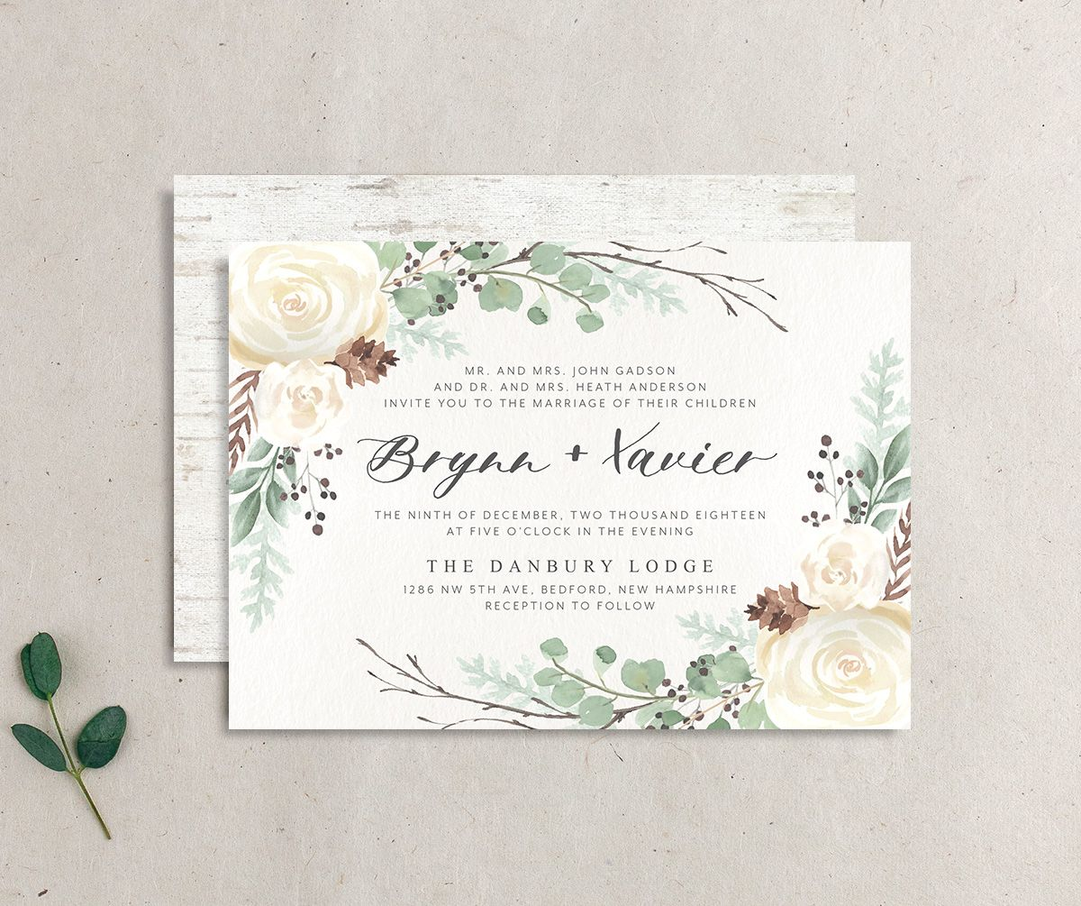 Rustic Botanical Wedding Invite