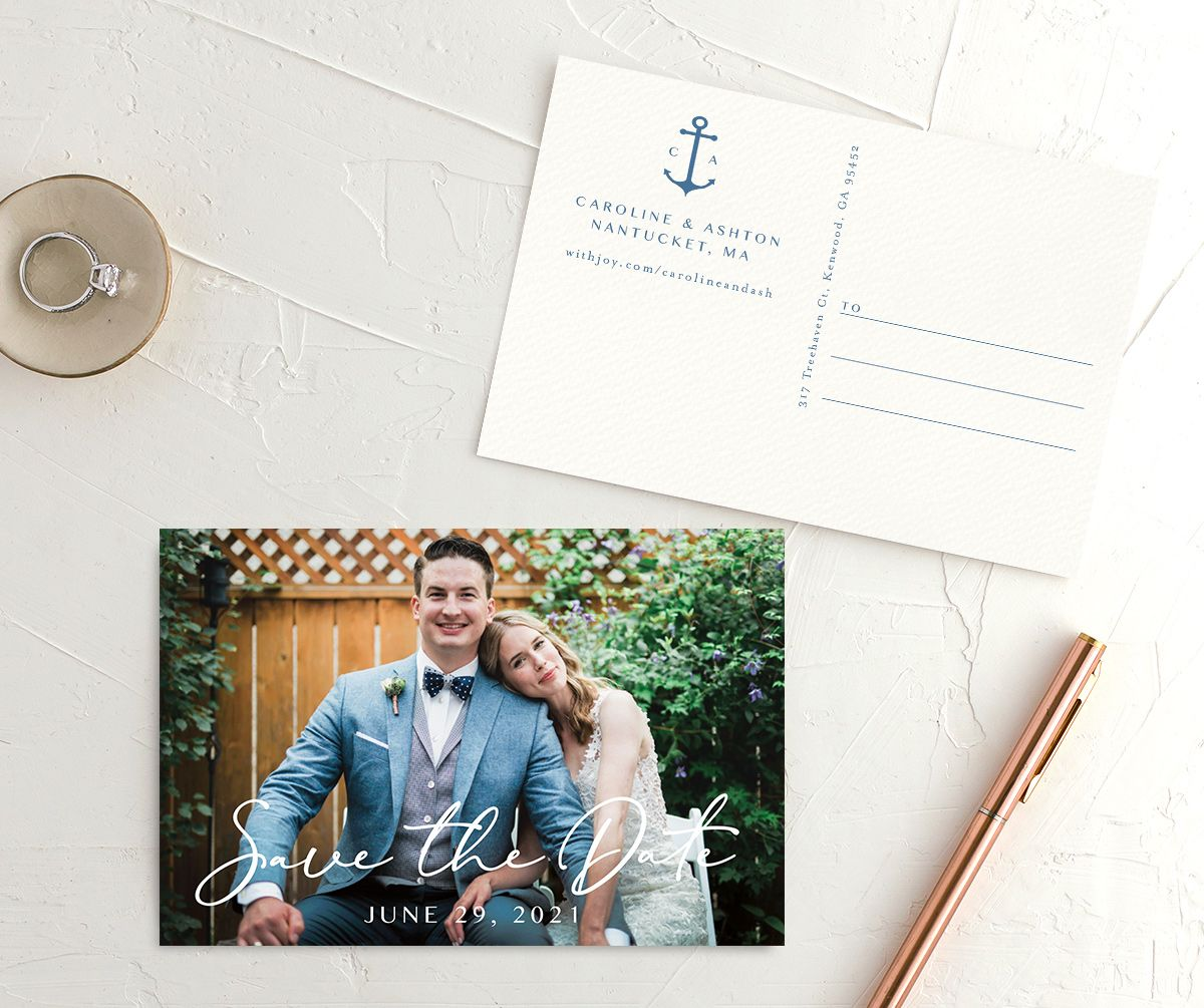 Coastal Love save the date photo postcards in blue