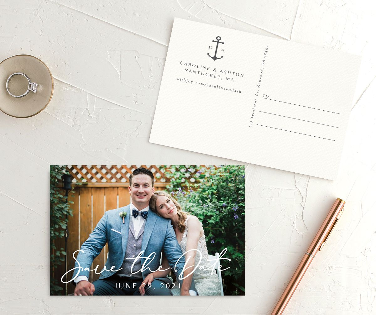 Coastal Love save the date photo postcards in grey