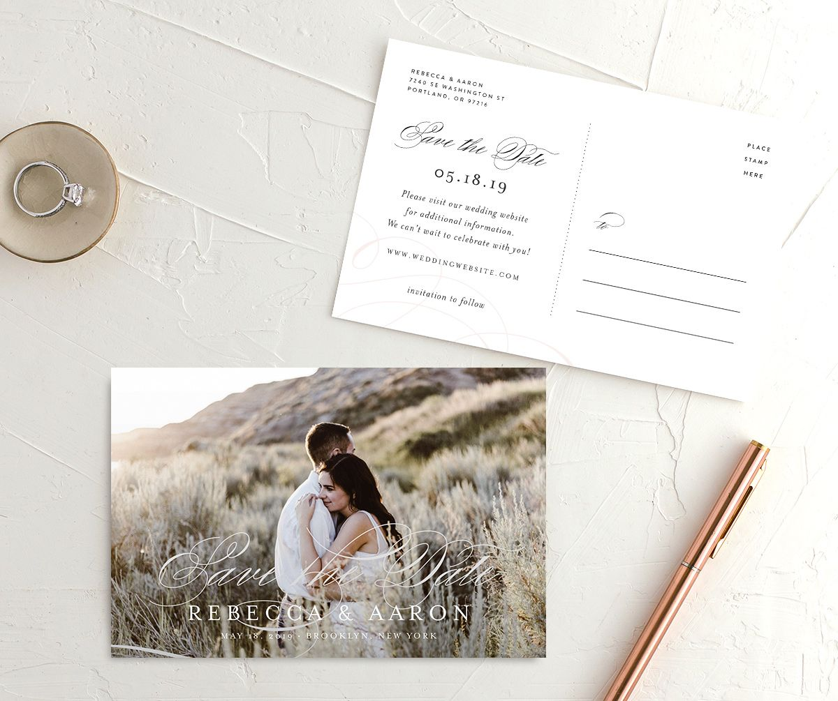 Elegant Calligraphy Save the Date photo postcards front & back