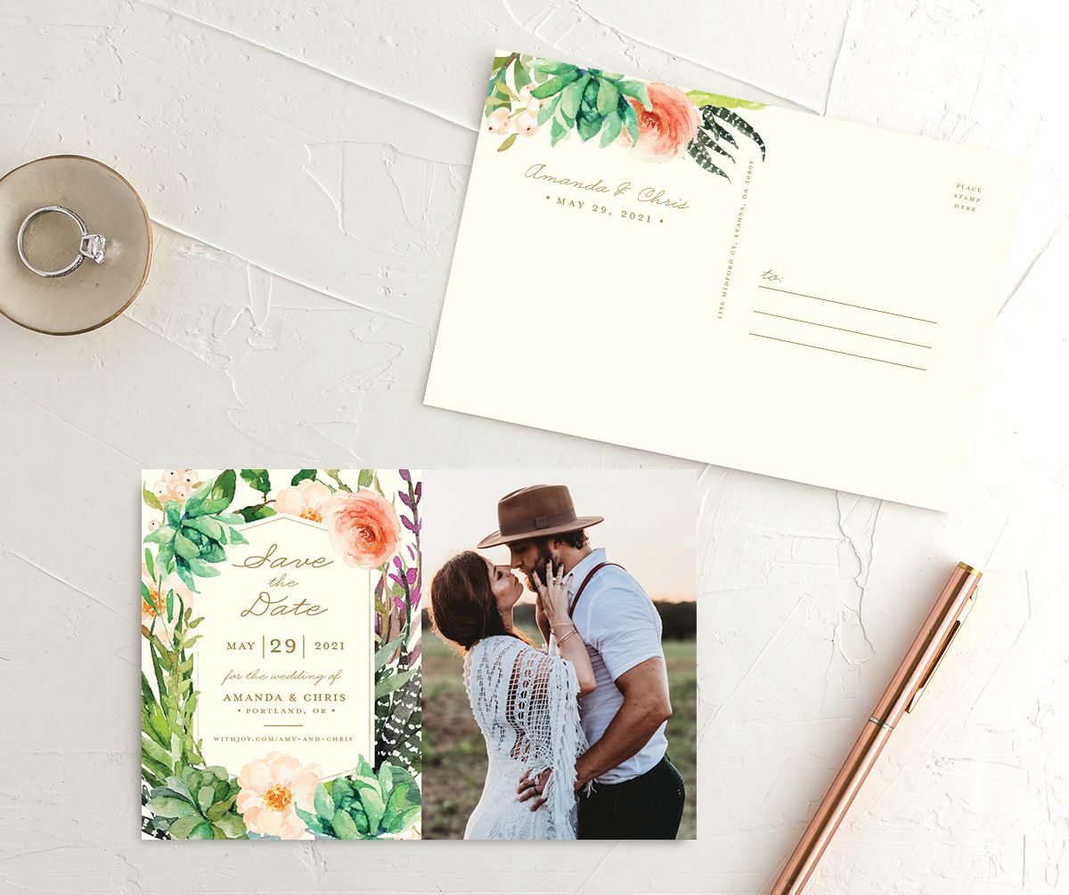 Elegant Oasis wedding photo save the date postcards