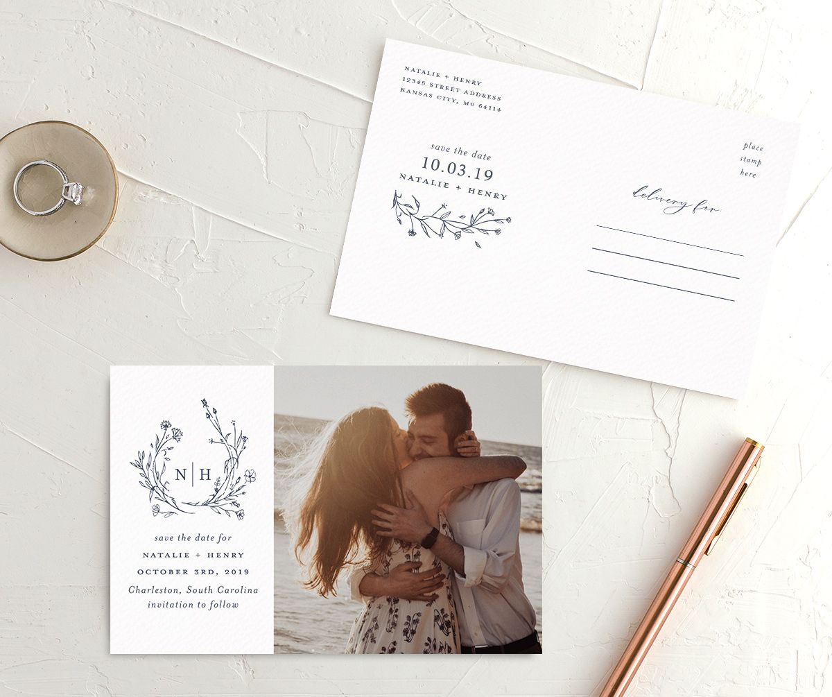 Natural Monogram save the date postcards blue