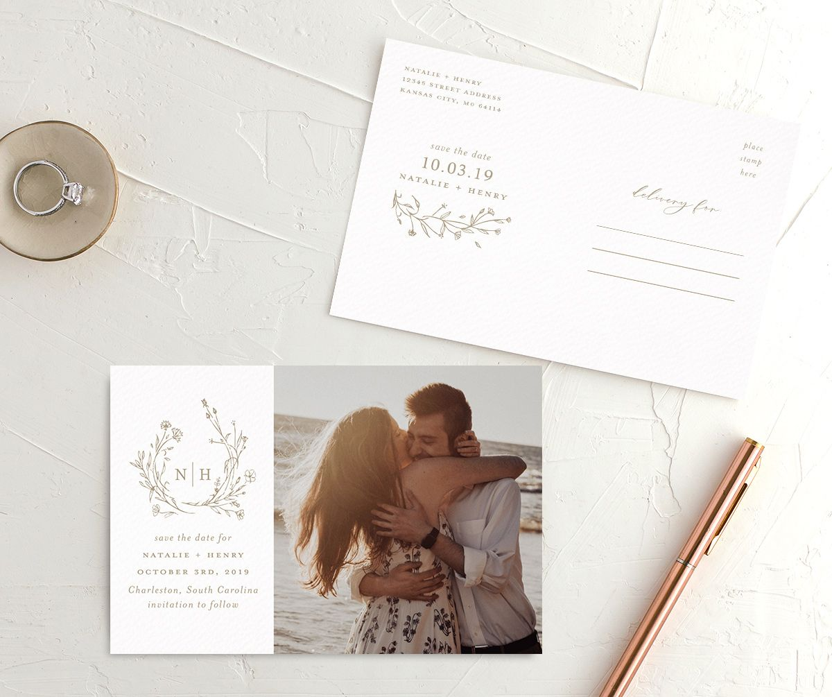 Natural Monogram save the date postcards tan