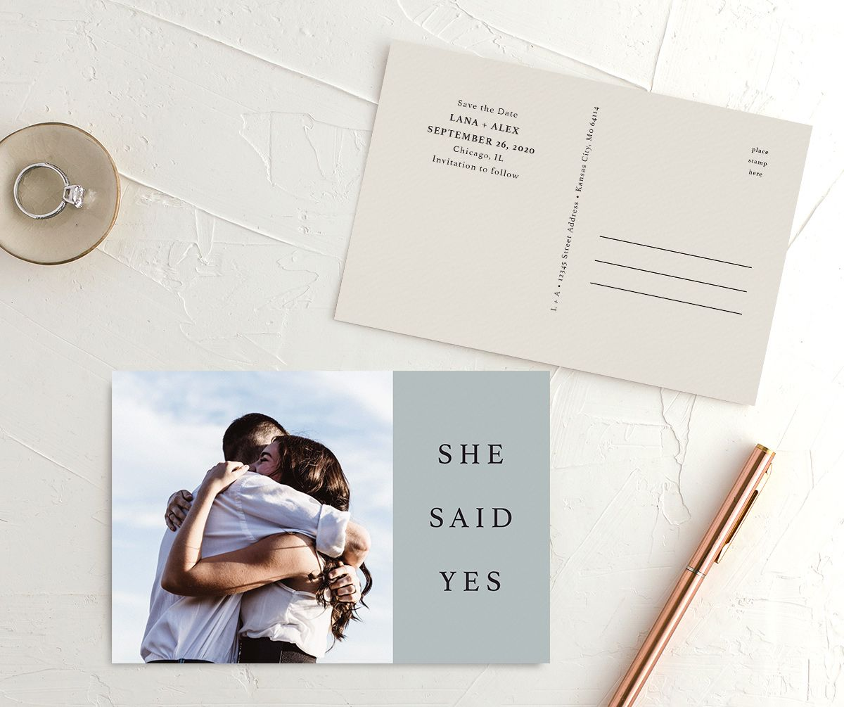 Natural Palette photo wedding announcement postcards in blue front & back