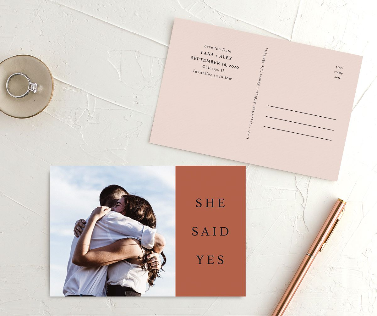 Natural Palette photo wedding announcement postcards in pink front & back