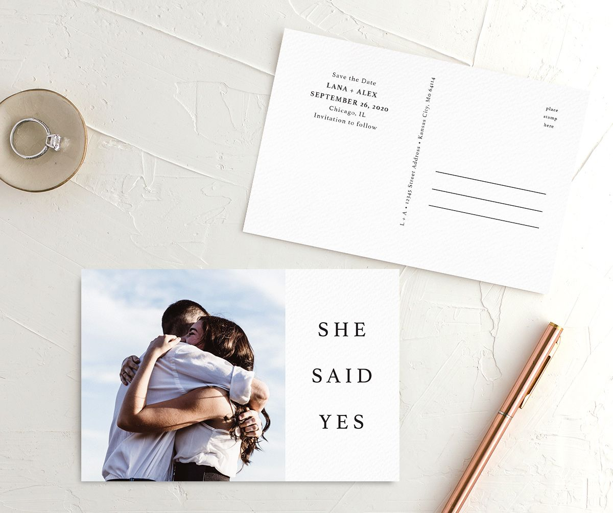 Natural Palette photo wedding announcement postcards in white front & back