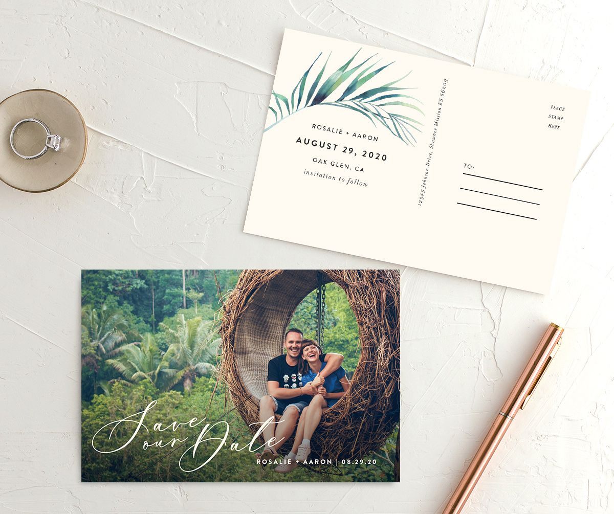 Palm and Protea save the date photo postcards