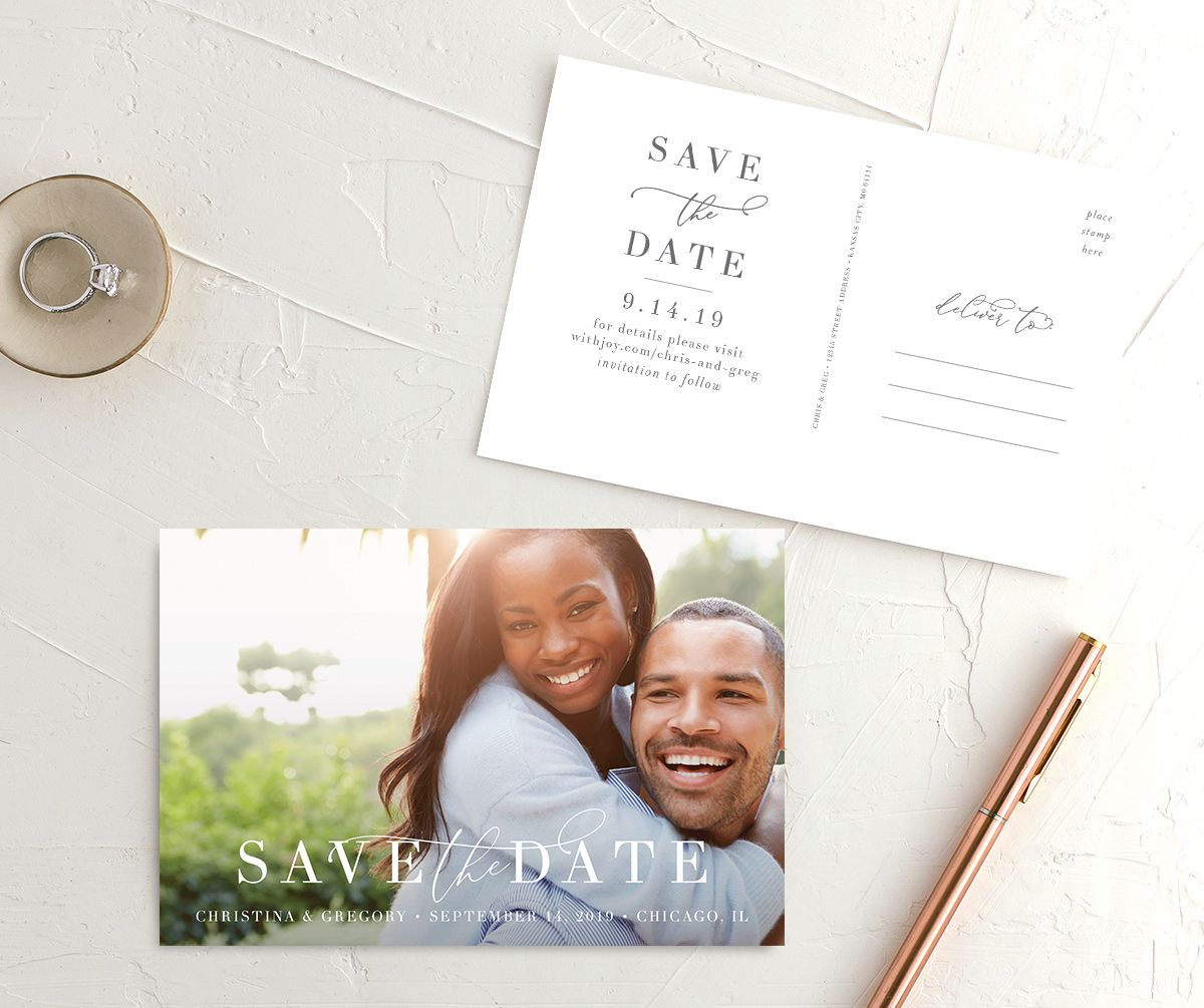 Romantic Calligraphy Save the Date Photo Postcards in grey