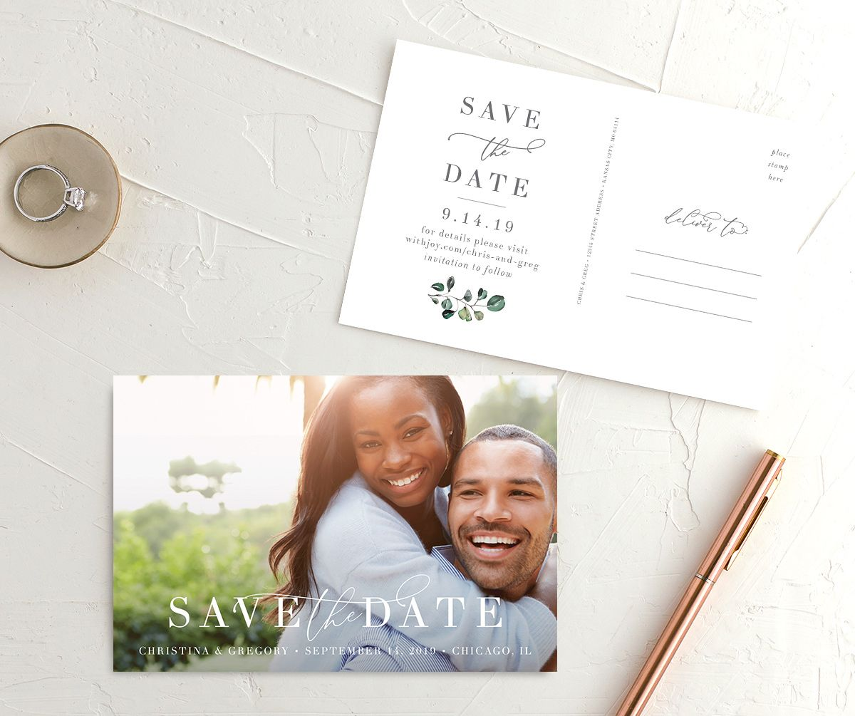 Romantic Calligraphy Save the Date Photo Postcards in multi