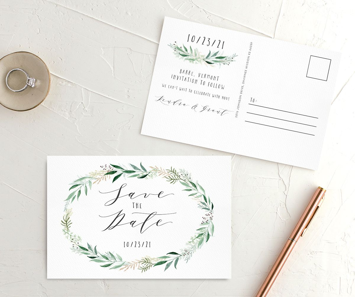 Rustic Wreath wedding announcement postcards front & back