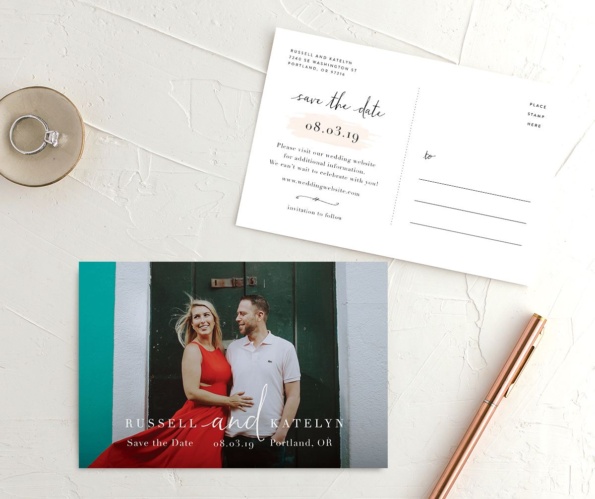Simply Modern Save the Date photo postcards front & back