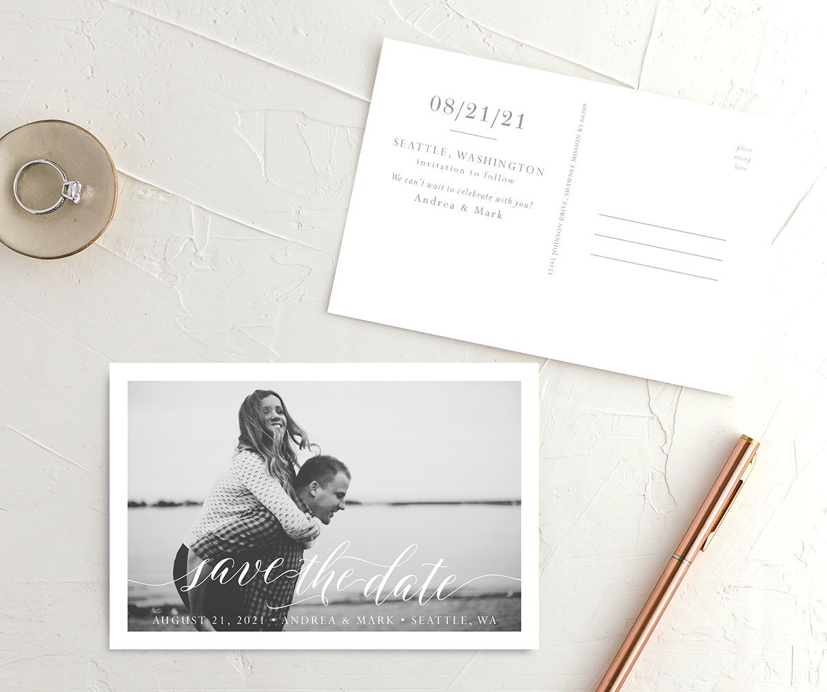 Chic Calligraphy save the date postcards front & back