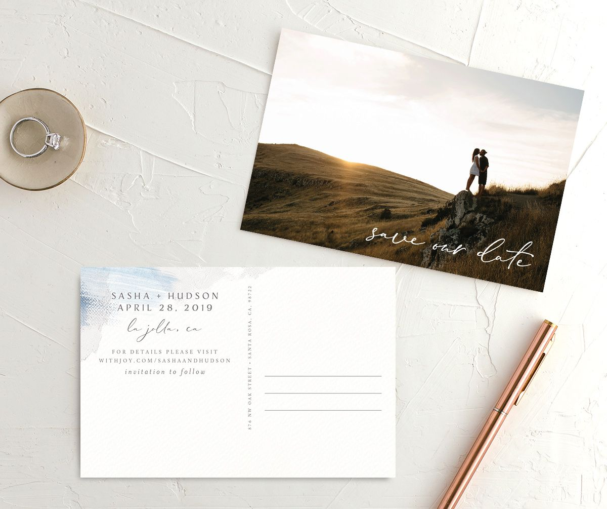 Minimal Brush post card save the date blue