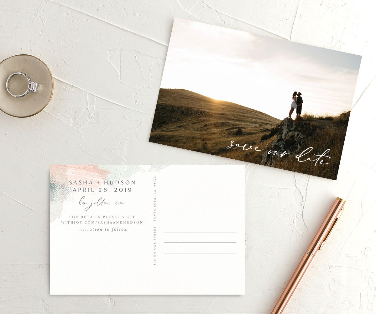 Minimal Brush post card save the date green