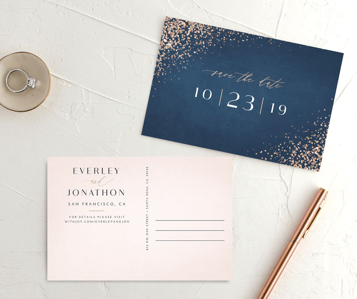 Sparkling Romance save the date postcard blue