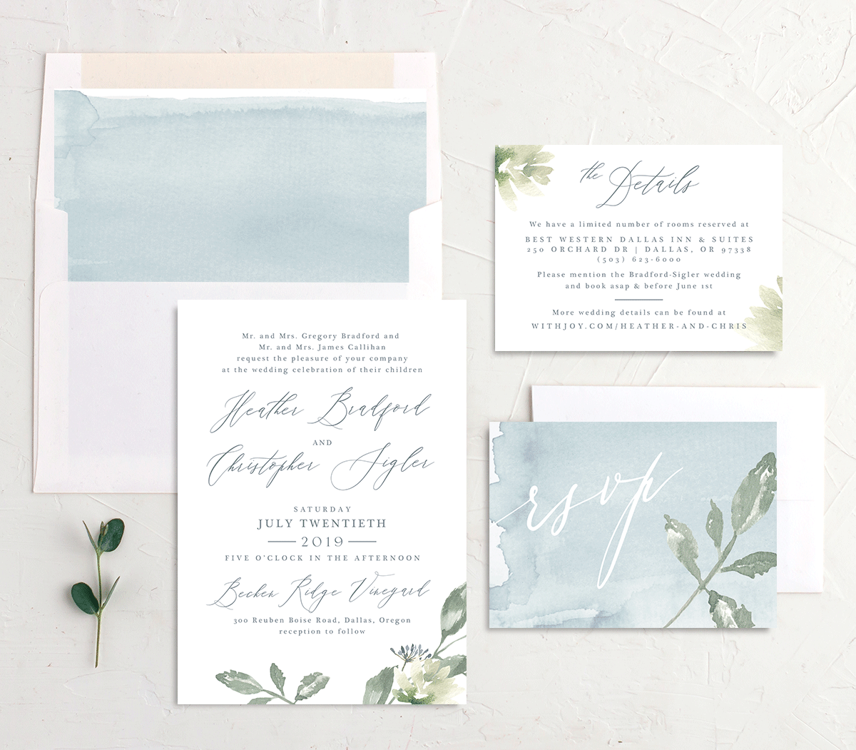 Dusted Calligraphy invite suite blue