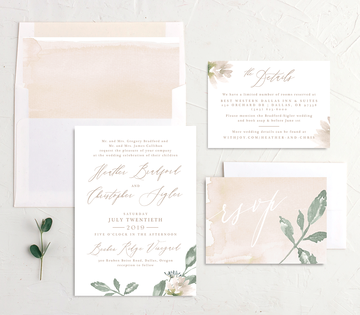 Dusted Calligraphy invite suite pink