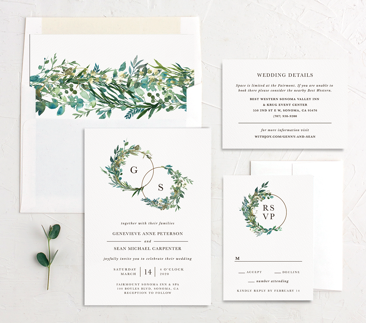 Leafy Hoops Wedding Invite Suite
