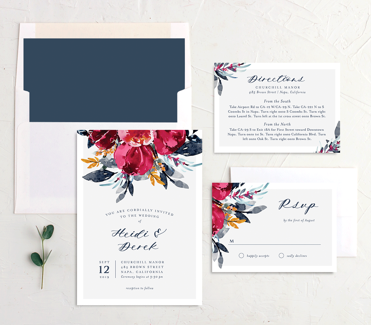 Painted Bouquet Wedding Invitation Stationery Suite