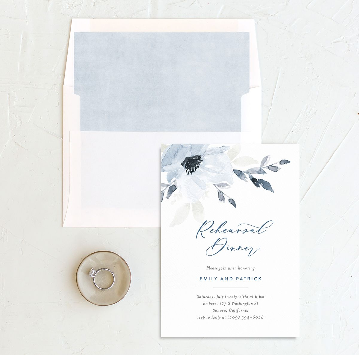 Shade of Blue Rehearsal Dinner Invite with envelope liner